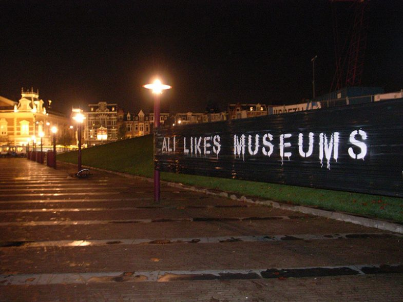 Graffiti intervention at museum-night