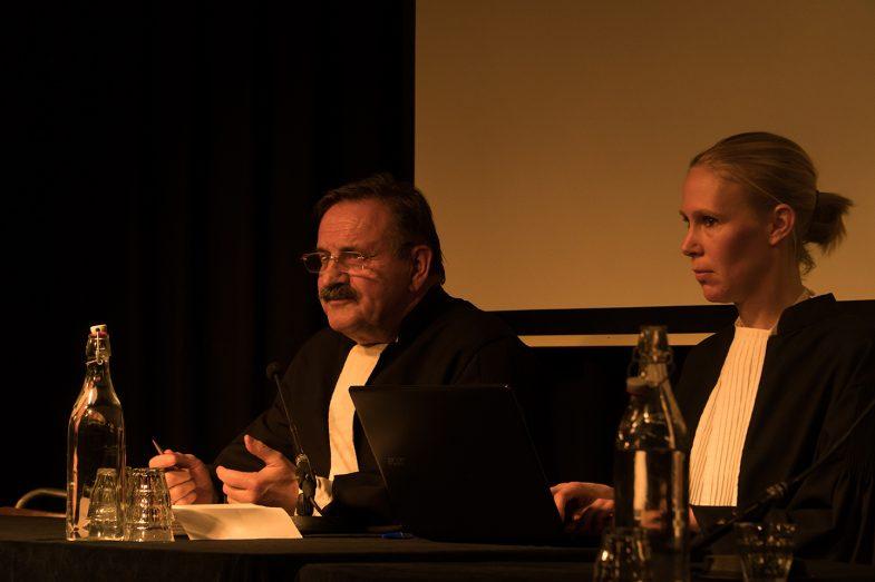 'Refugee on Trial'. Teun van Os (Judge) & Frederica van Straelen (clerk)