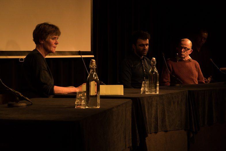 "Ehsan Fardjadniya (as Ali J. midl). Left Carlien Stassen (as IND). Hans van Zundert (Ali's lawyer) ""Refugee on Trial"" performance Pakhuis de Zwijger"