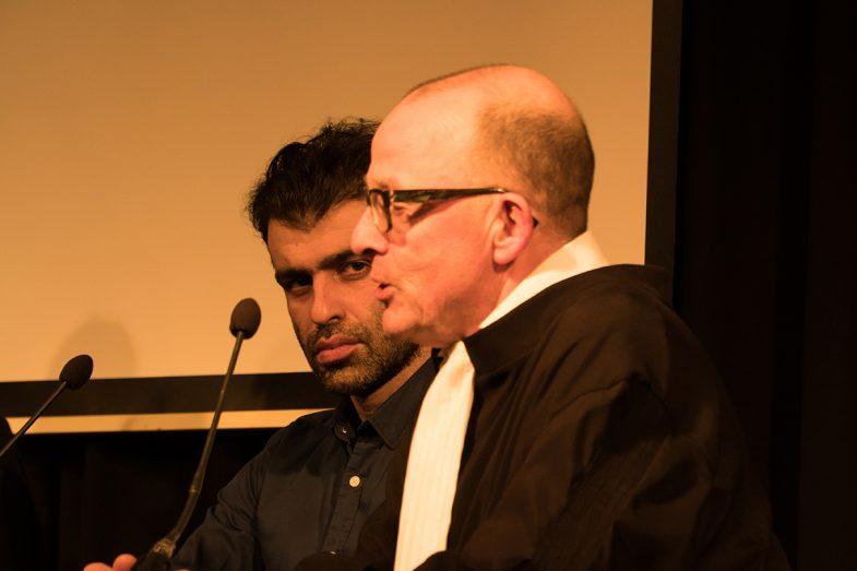 "Ehsan Fardjadniya (Ali J) & Hans van Zundert (Ali's lawyer) at ""Refugee on Trial"" performance art by Ehsan Fardjadniya"